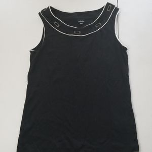 Sleeveless Rafaella grommeted top